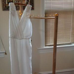 Chiffon jumpsuit w/beaded bows